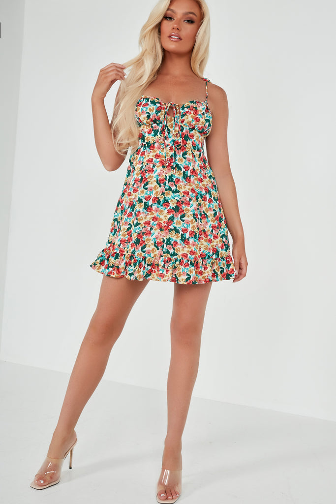 Sarah Jane Red Floral Tie Strap Frill Dress