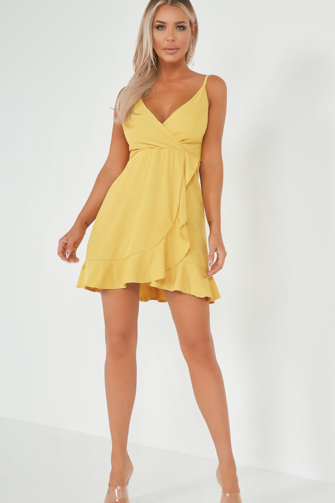 Saskia Yellow Frill Cami Dress