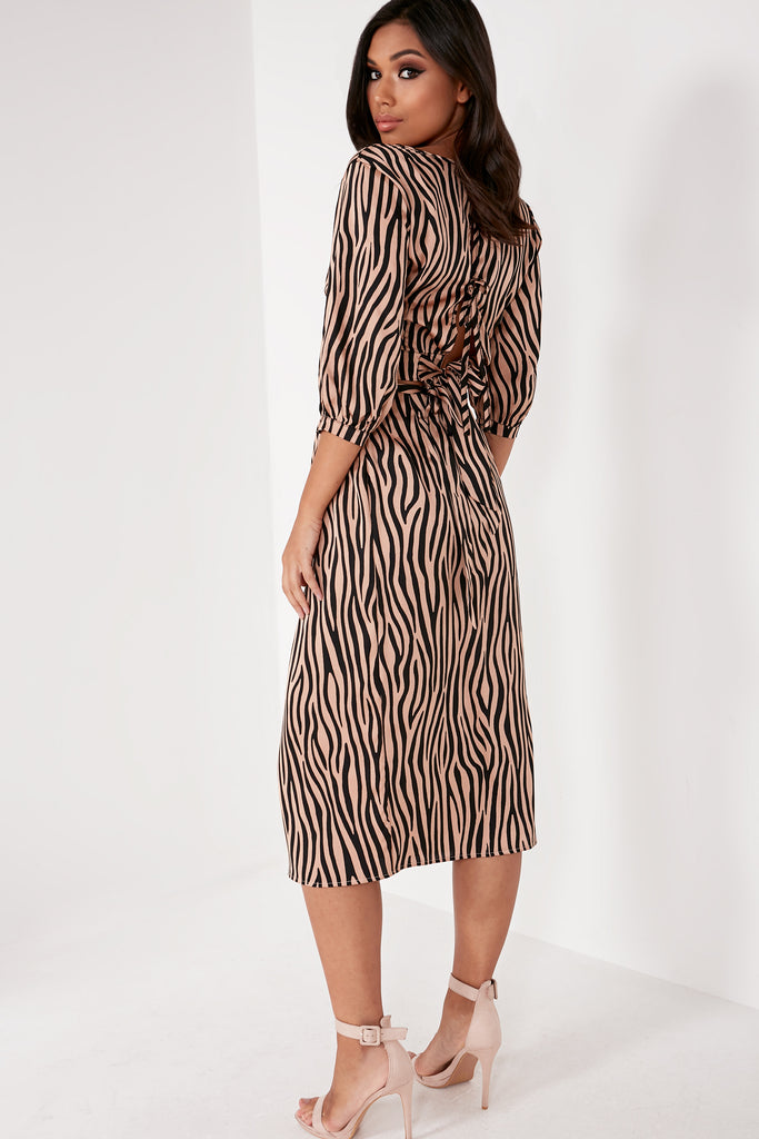 Savannah Camel Zebra Wrap Over Skirt