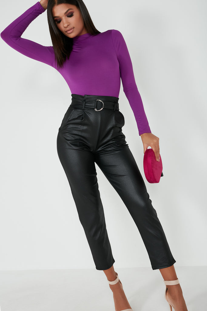 Selema Black Wet Look Belted Trousers