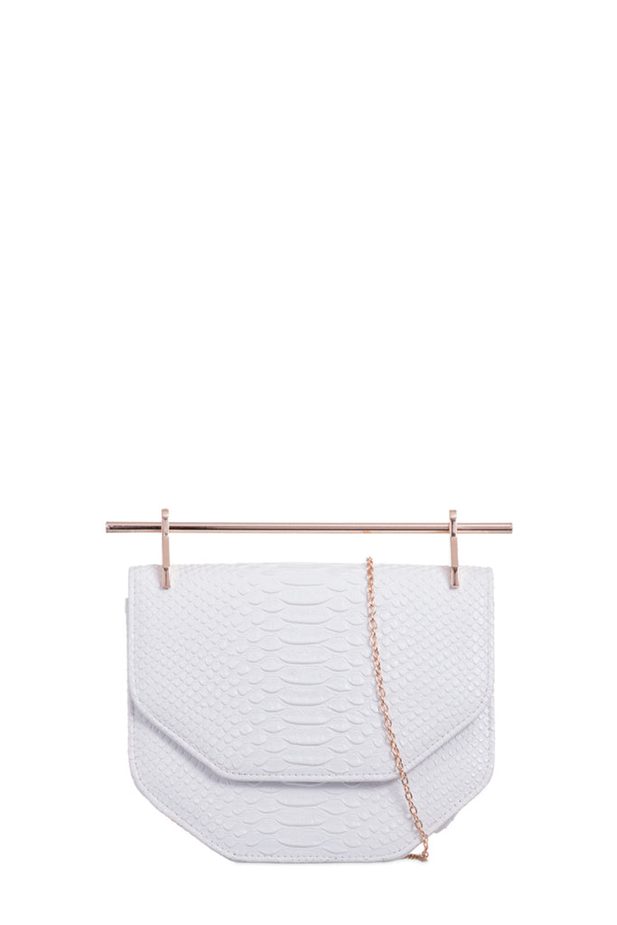 Serena White Mock Croc Gold Bar Bag
