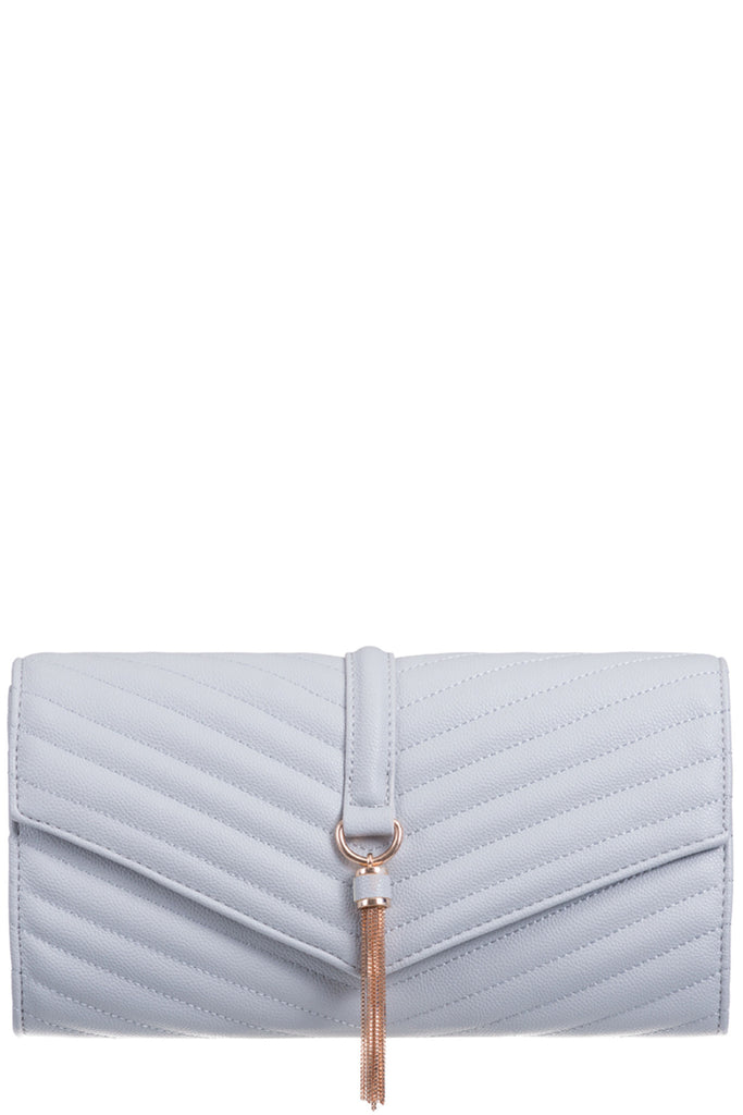 Shanel Grey Quilted Clutch Bag (5779302853)