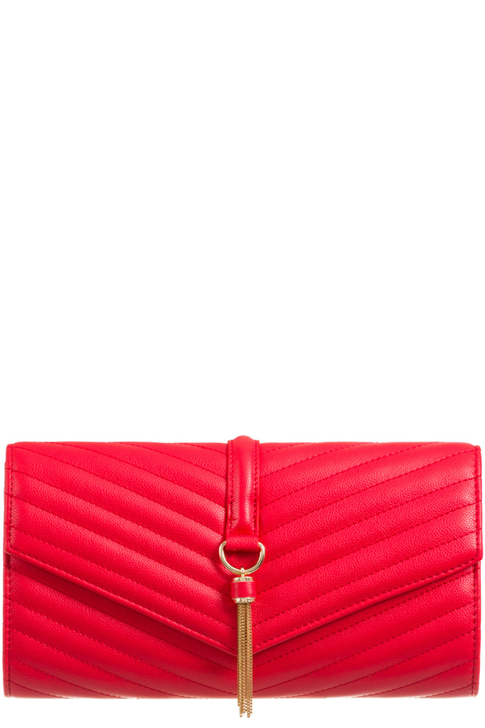 Shanel Red Quilted Clutch Bag