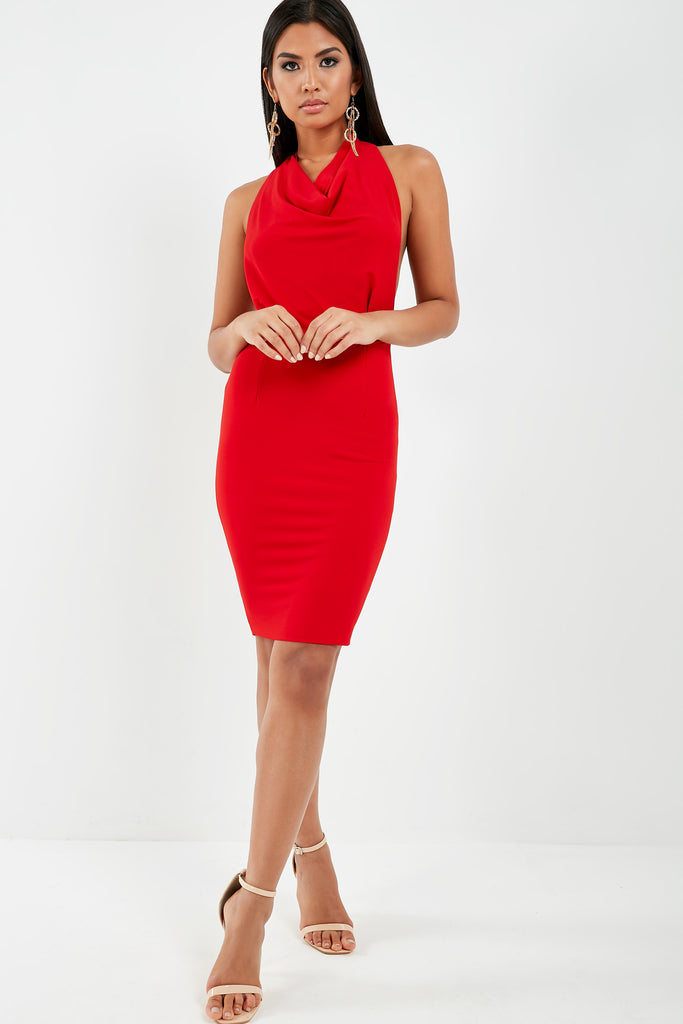 Shannon Red Slinky Cowl Halterneck Dress (1887378866242)