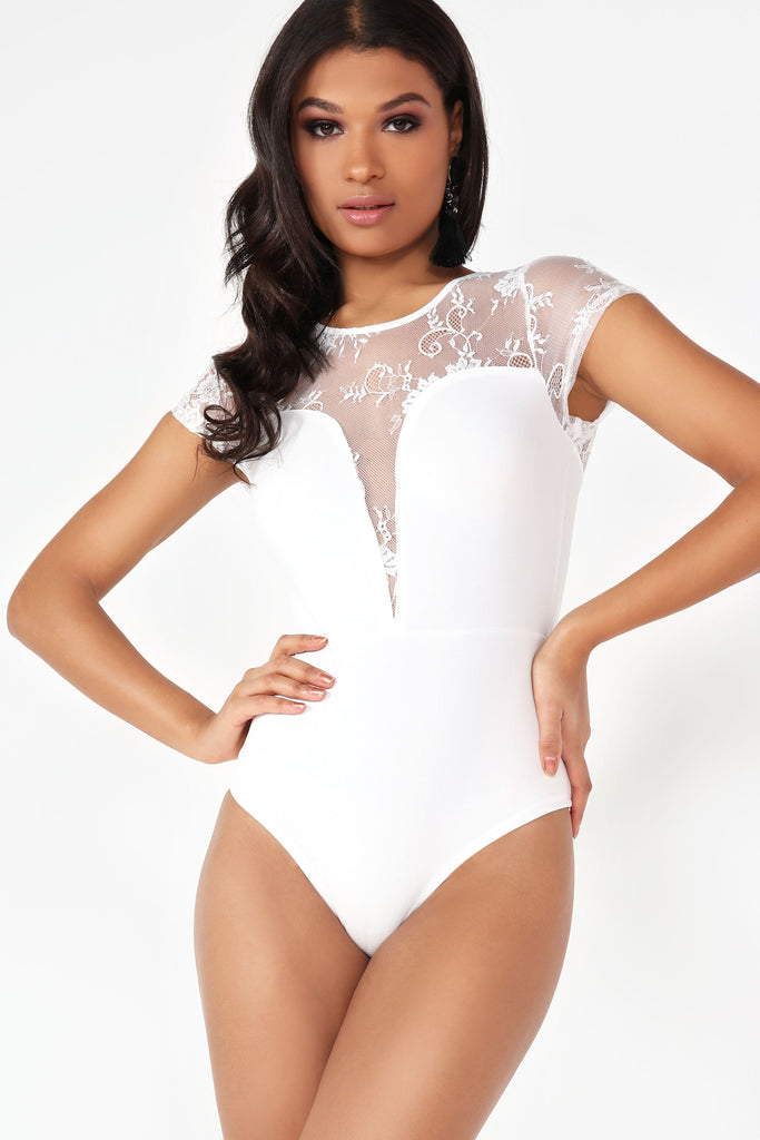 Sharon White Lace Contrast Bodysuit (73683337232)