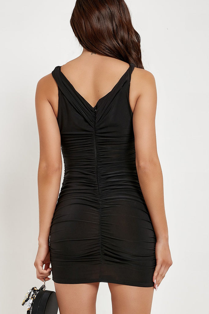 Shauna Black Twist Front Slinky Dress