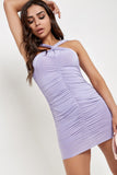 Shauna Lilac Twist Front Bardot Slinky Dress
