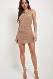Shauna Nude Twist Front Slinky Dress