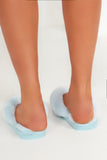 Shaunice Blue Fluffy Flip Flop Slippers