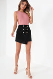 Sheba Black Wrap Over Mini Skirt (752743022700)