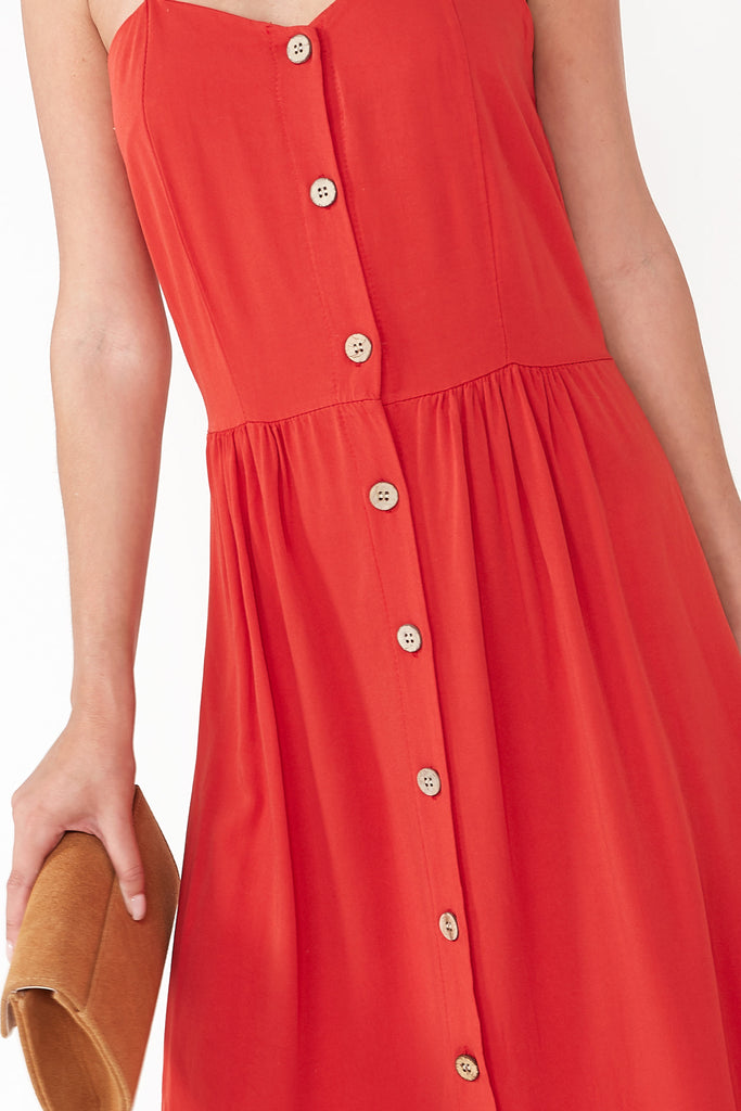 Shelby Red Button Detail Dress