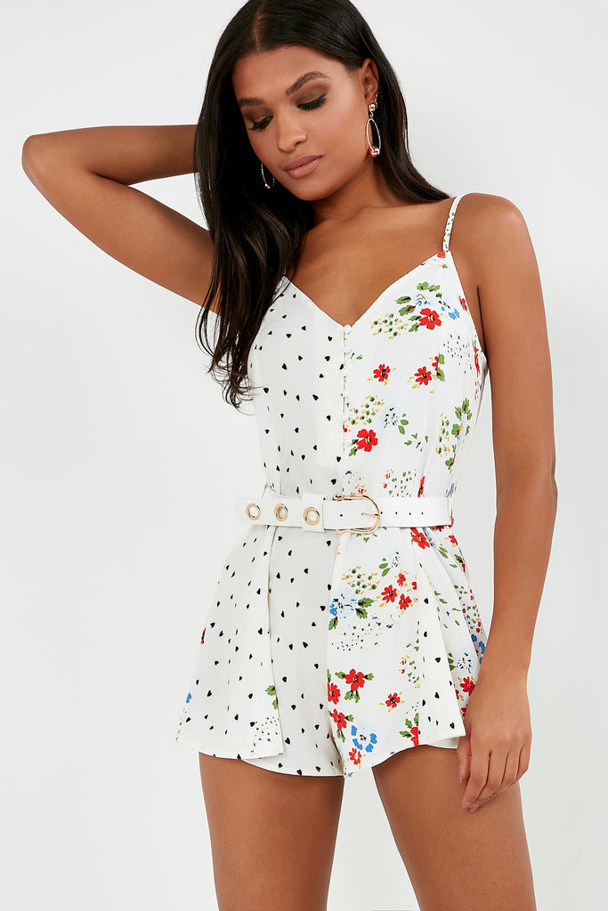 0413a3b73d4 Shirley White Heart Floral Print Playsuit