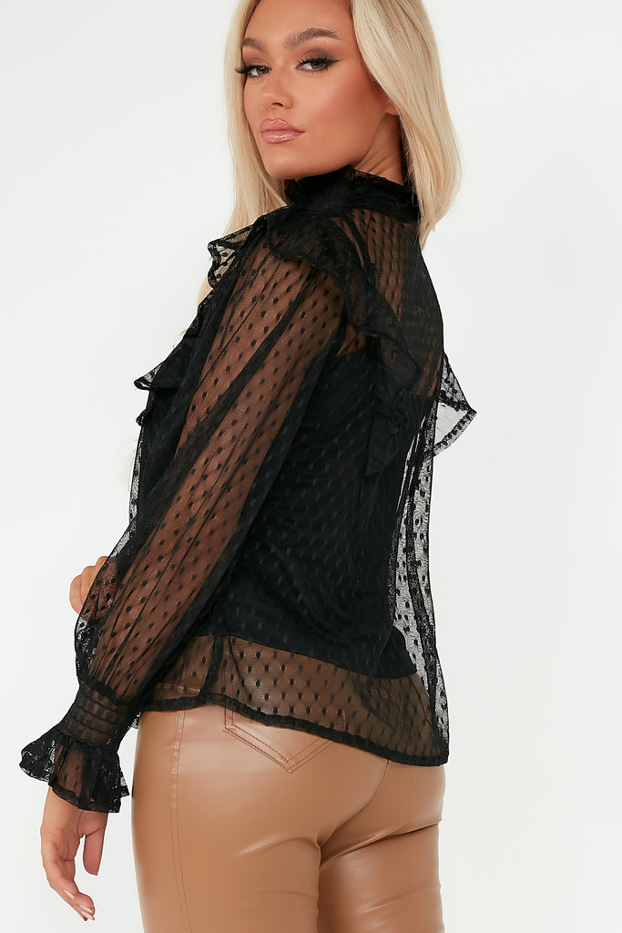 Sia Black Dobby Mesh Frill Top