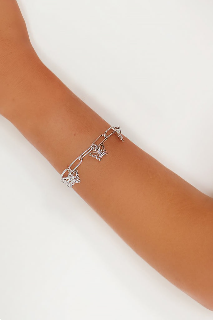 Silver Butterfly Drop Chain Bracelet