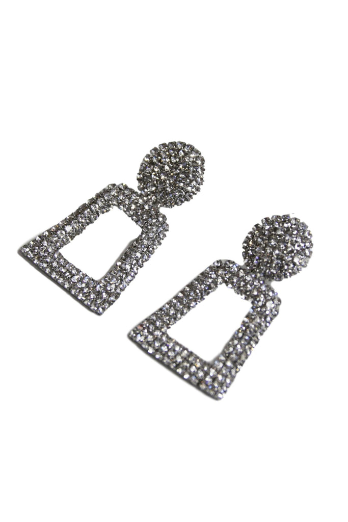 Silver Diamante Rectangle Earrings