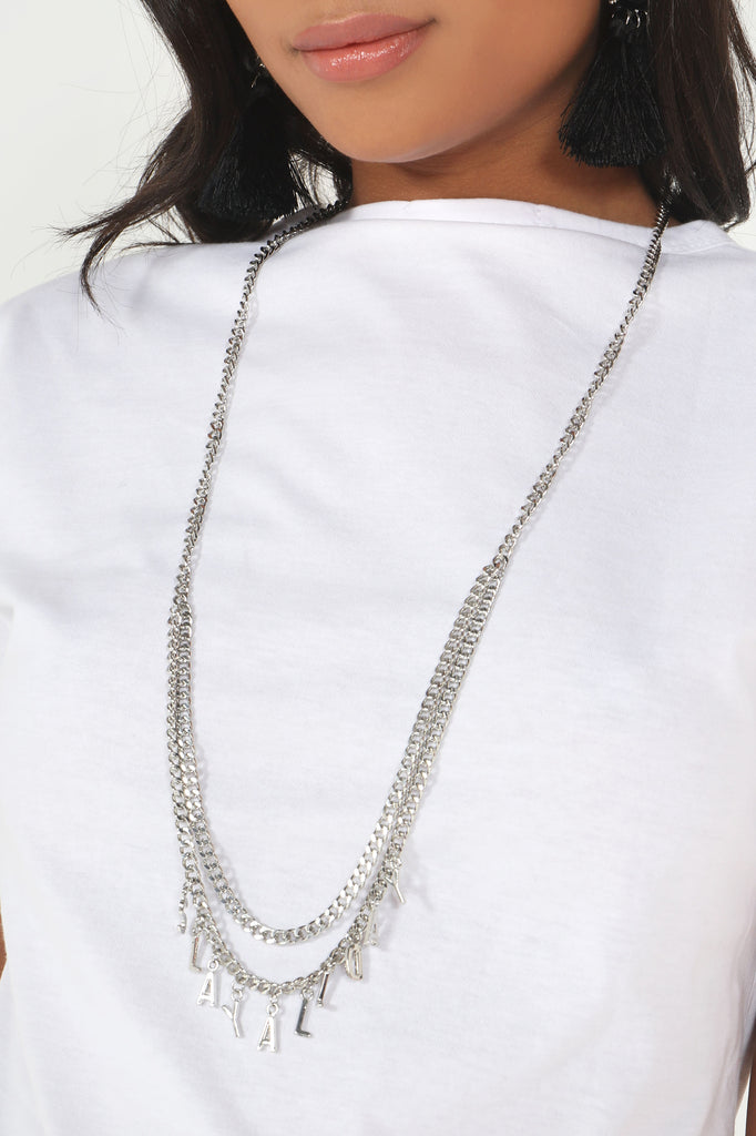 Silver Long 'Slay All Day' Necklace (30612226064)