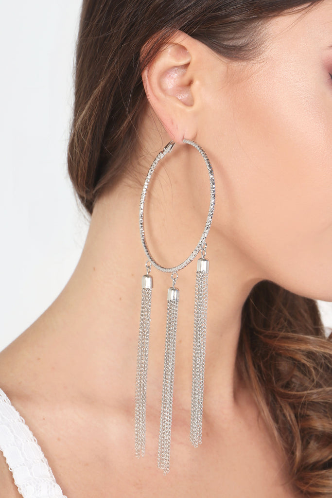 Silver Plated Chain Drop Hoop Earrings (92722855952)