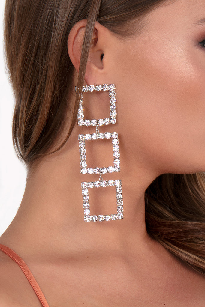 246cfe60d Silver Square Diamante Drop Earrings | Vavavoom.ie