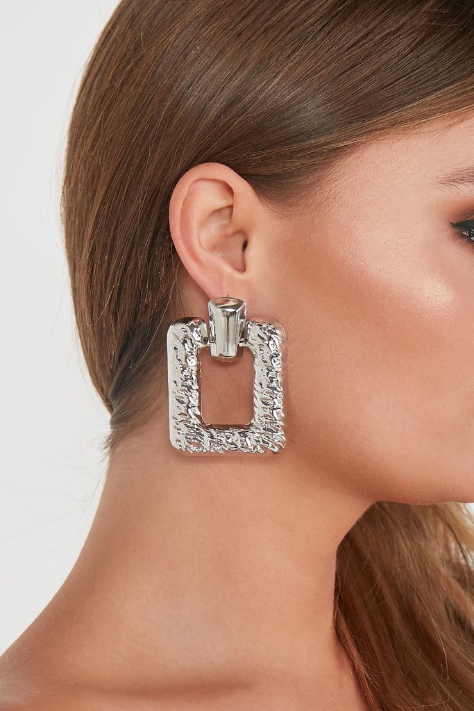 Silver Square Textured Statement Earrings