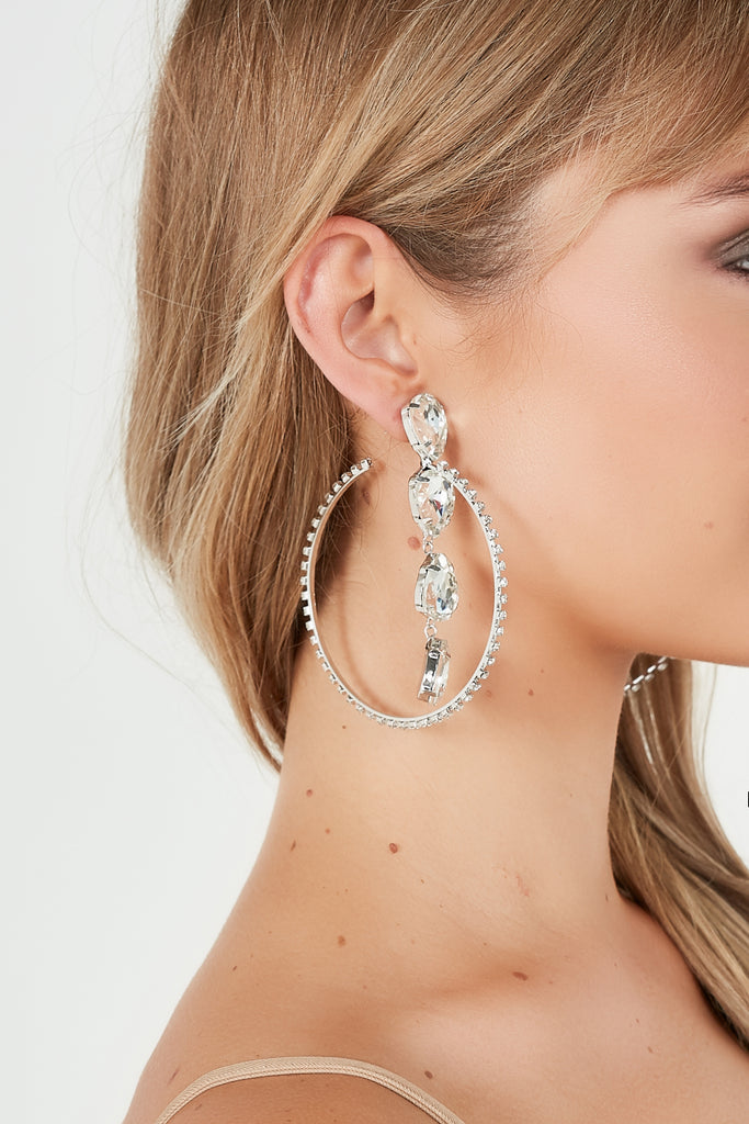 Silver Stone Drop Diamonte Hoop Earrings
