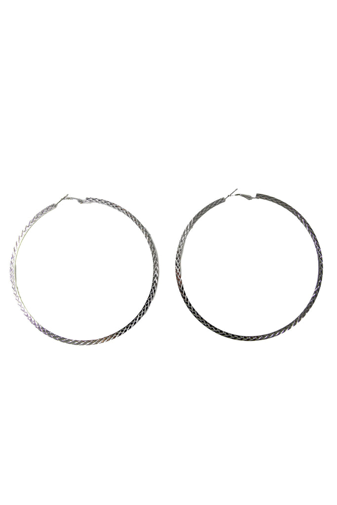 Silver Textured Oversized Hoops