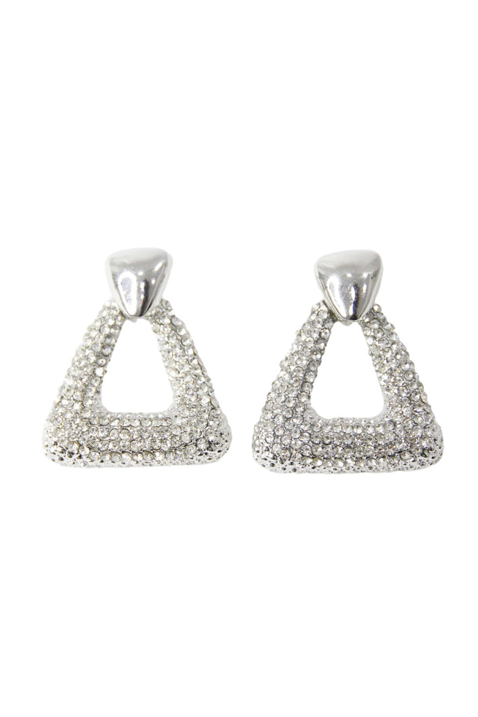Silver Triangle Diamante Earrings