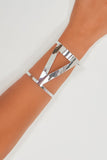Silver Wide Cut Triangle Arm Cuff Bracelet