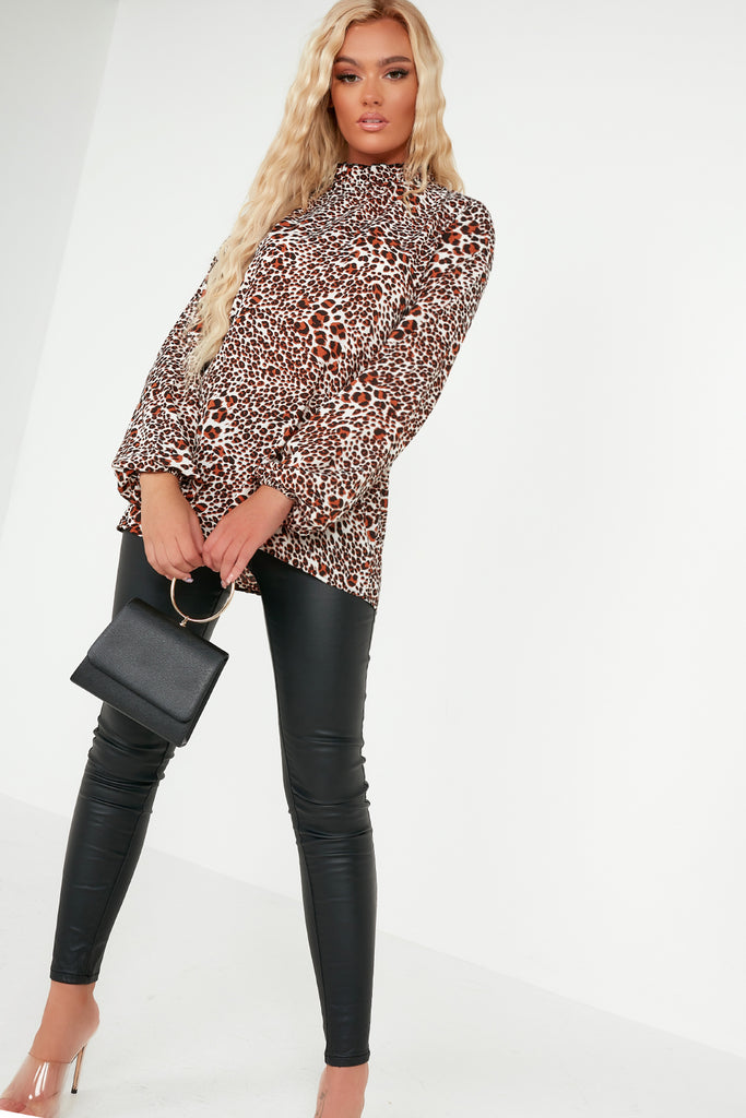 Silvia Rust Animal Print Ruffle High Neck Top