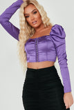 Sinda Purple Milkmaid Satin Crop Top