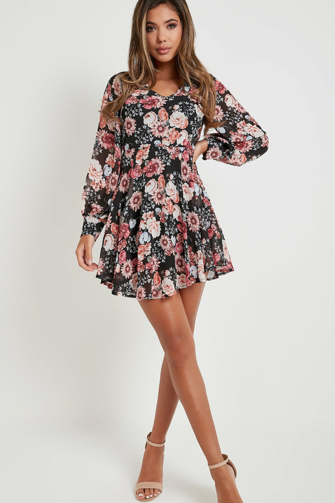 Sindy Black Floral V Neck Dress