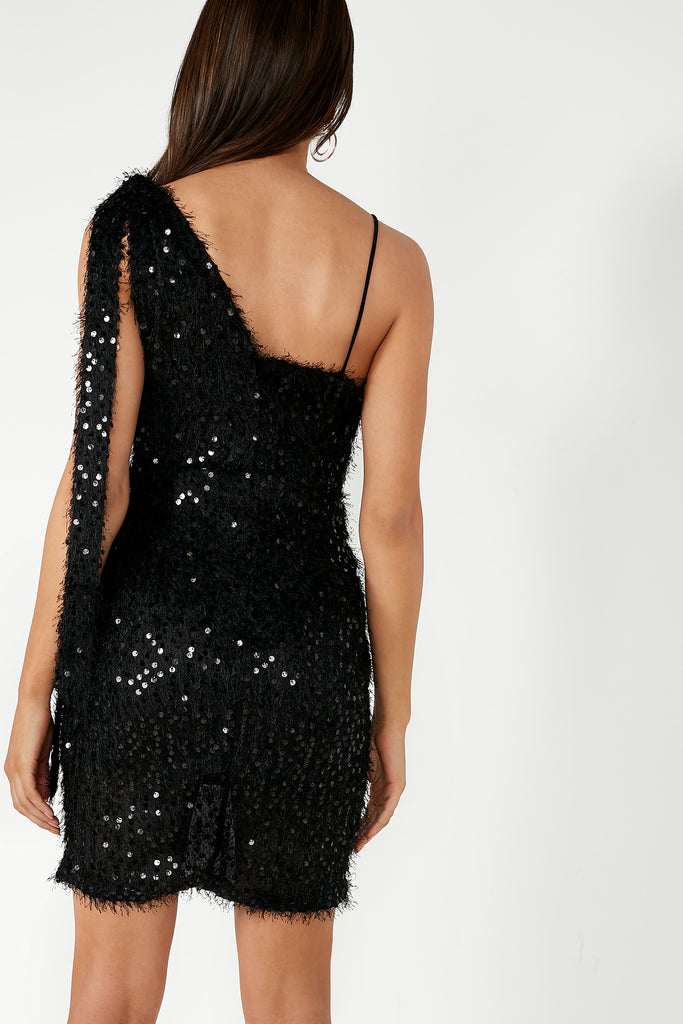 Sinead Black Sequin Tassel Dress