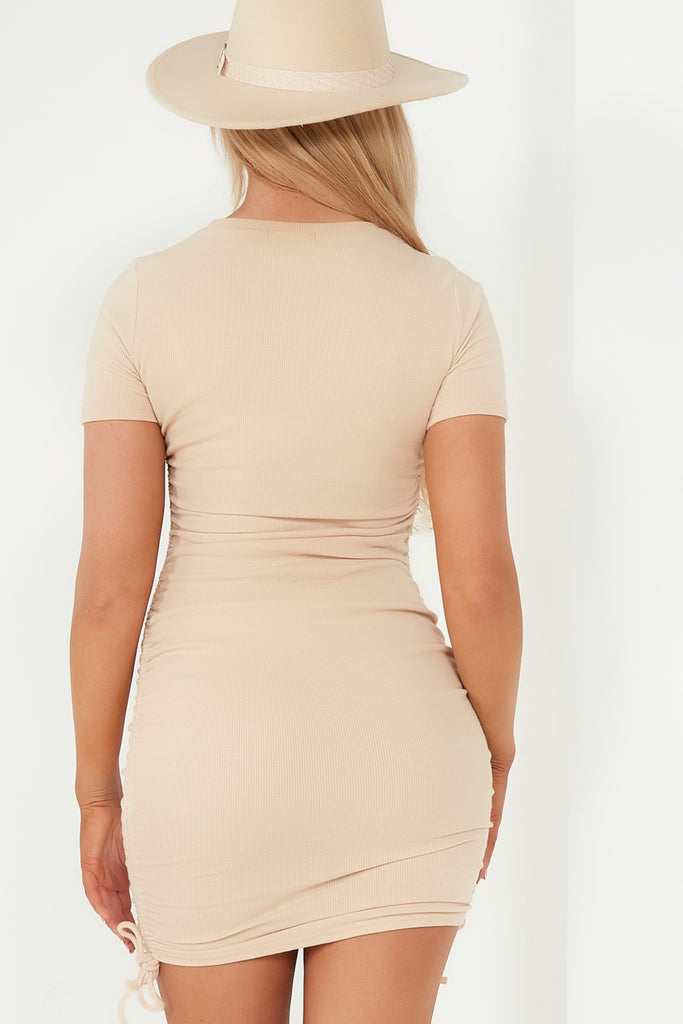 Sinead Nude Ruched Ribbed Dress