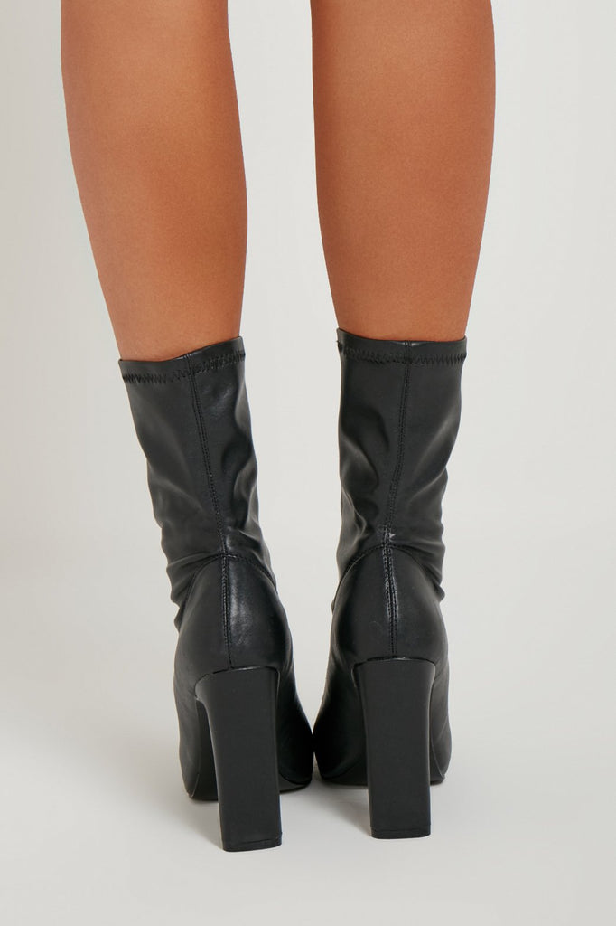 Sinita Black Leatherette Sock Boots