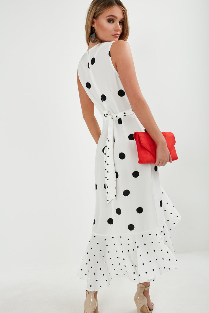 Siobhain Cream Polka Dot Frill Midi Dress