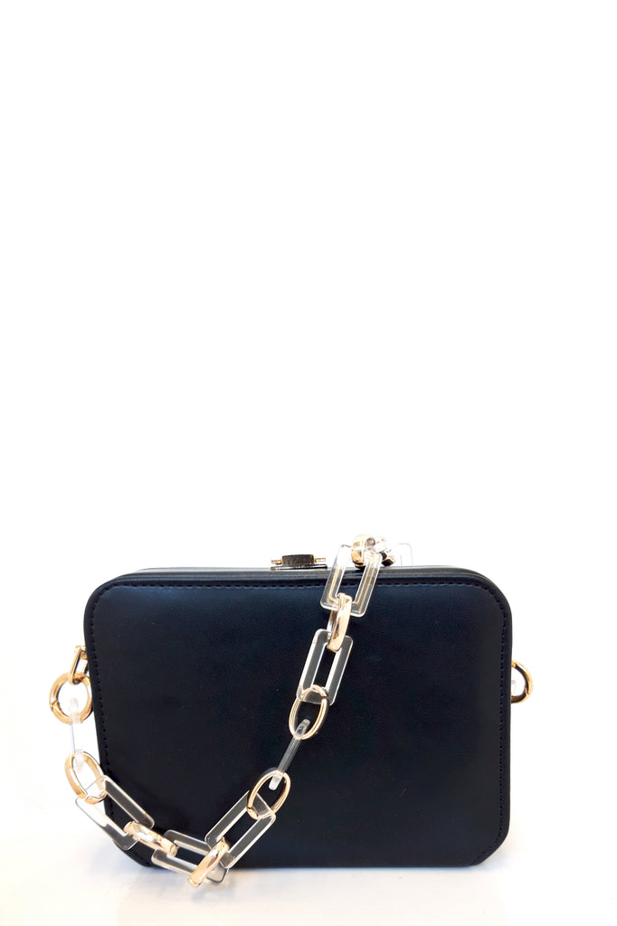 Sofia Black Leatherette Box Bag