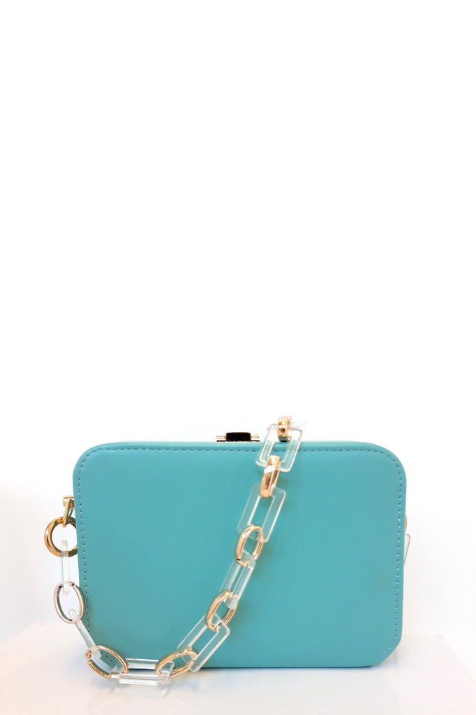 Sofia Mint Leatherette Box Bag