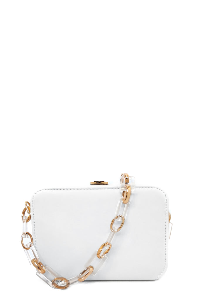 Sofia White Leatherette Box Bag