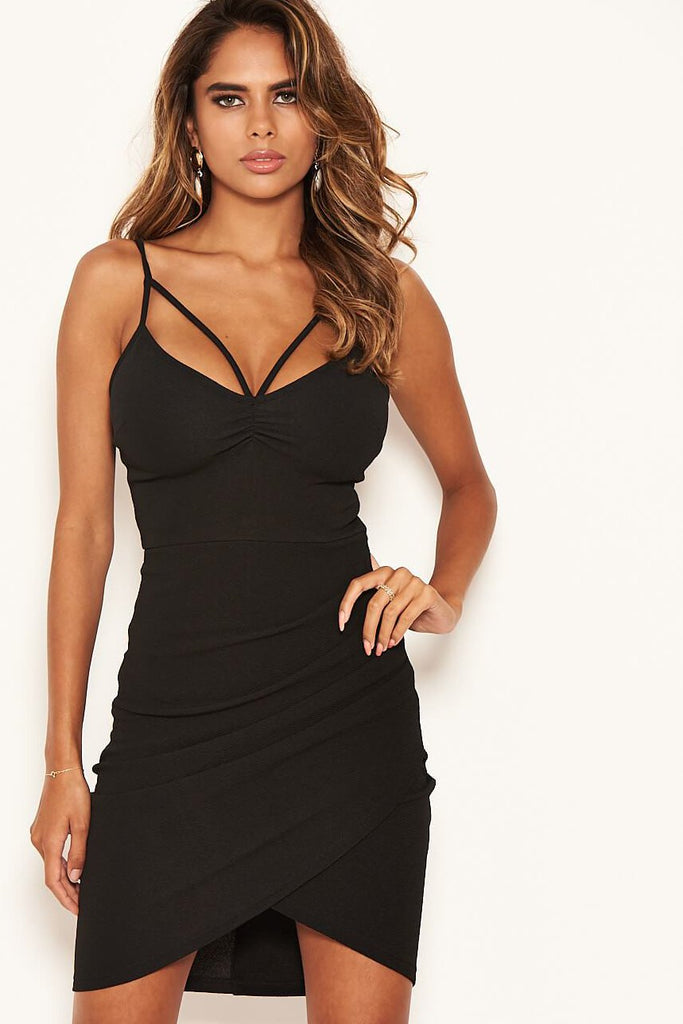 Sonny Black Strappy Ruched Bodycon Dress