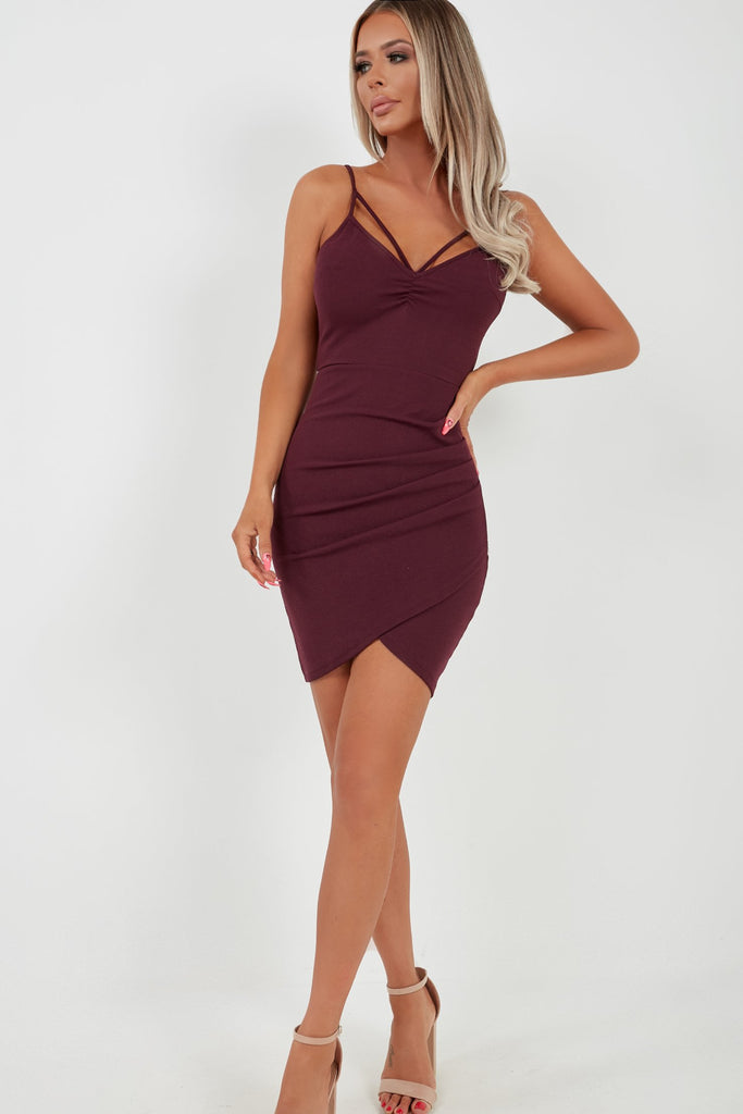 Sonny Plum Strappy Ruched Bodycon Dress (2032899522626)