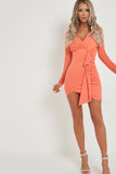 Sophie Coral Long Sleeve Ruched Wrap Dress