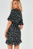 Starla Black Spotted Print Frill Dress