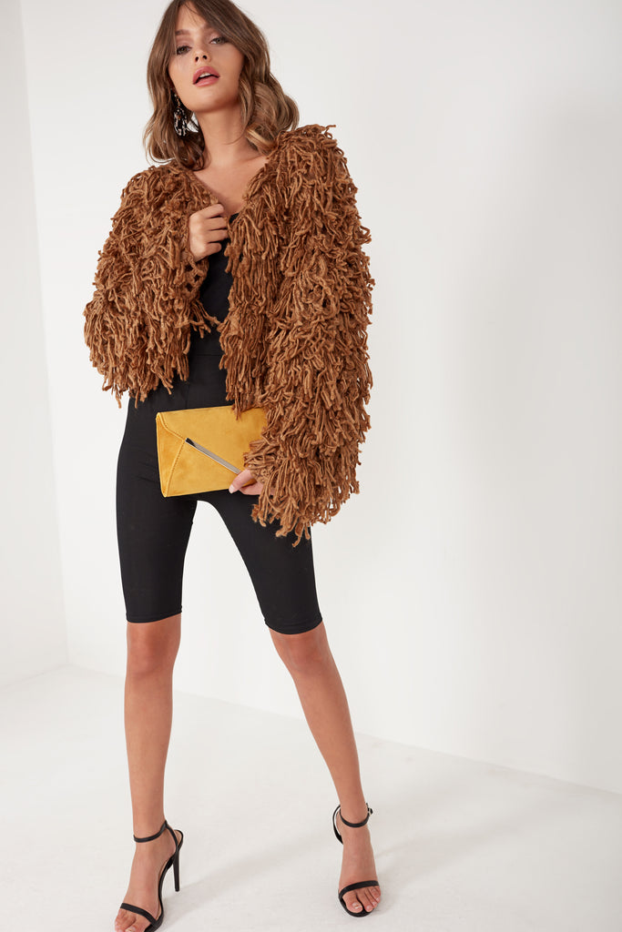 Stasia Brown Shaggy Cardigan