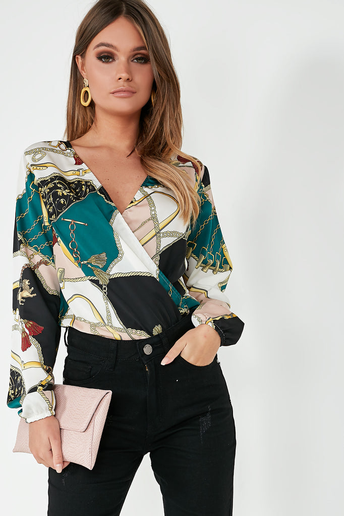 Steffi Green Chain Print Wrap Bodysuit