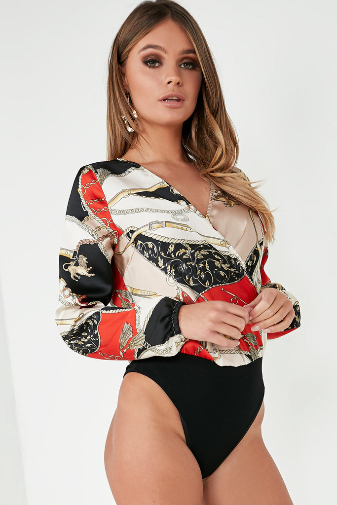Steffi Red Chain Print Wrap Bodysuit
