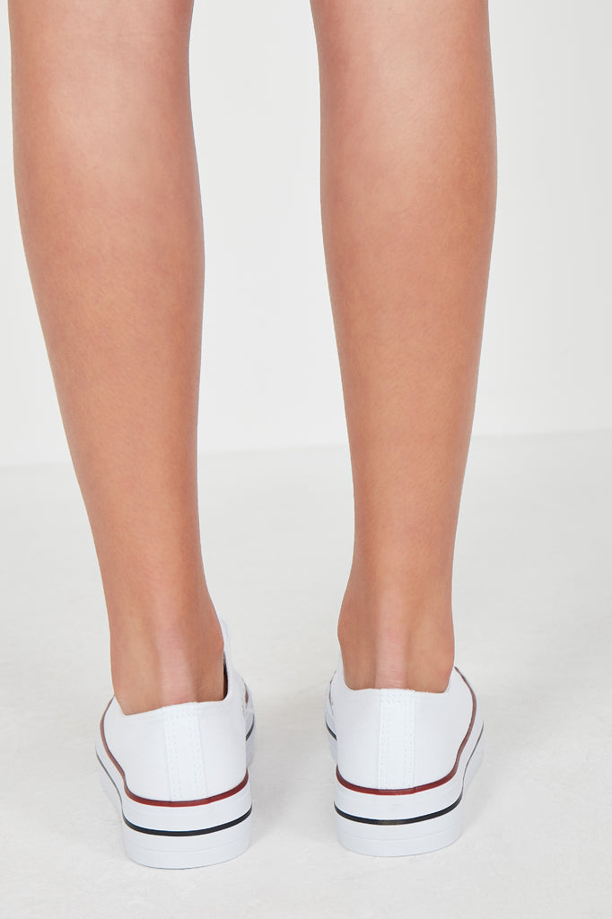 Suka White Lace Up Canvas Trainers