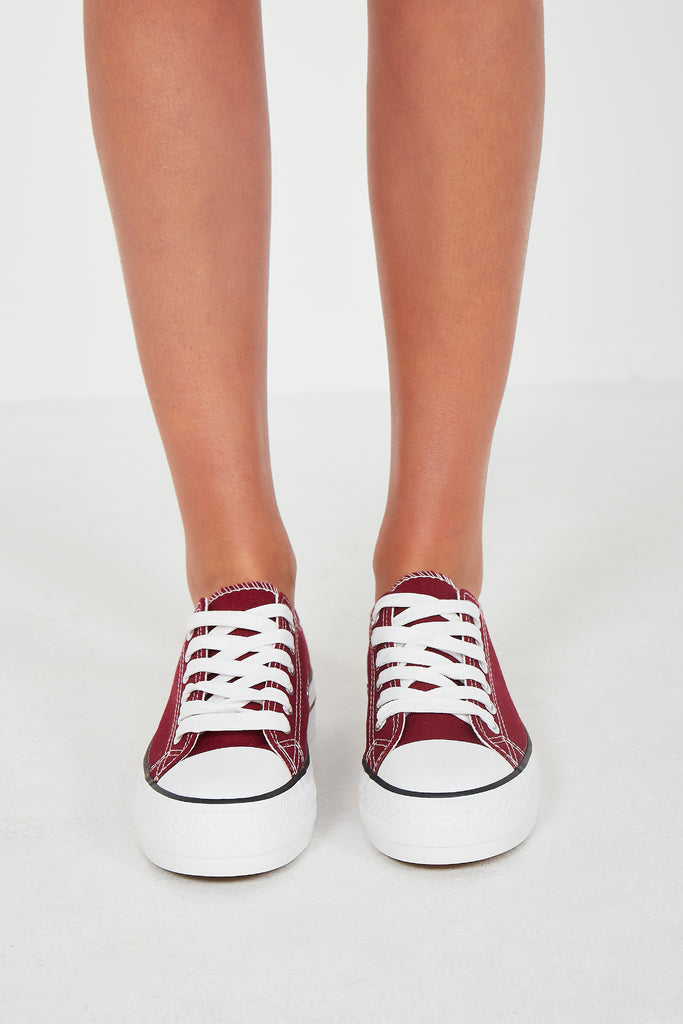 Suka Wine Lace Up Canvas Trainers (1725684219970)