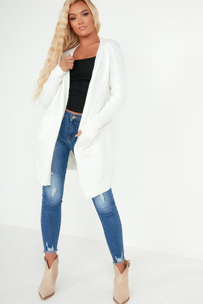Suranne Cream Ribbed Sleeve Knit Cardigan