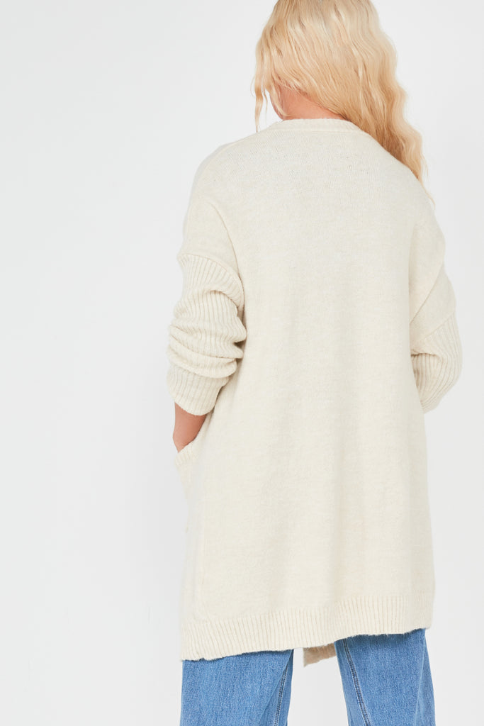 Suranne Nude Ribbed Sleeve Knit Cardigan
