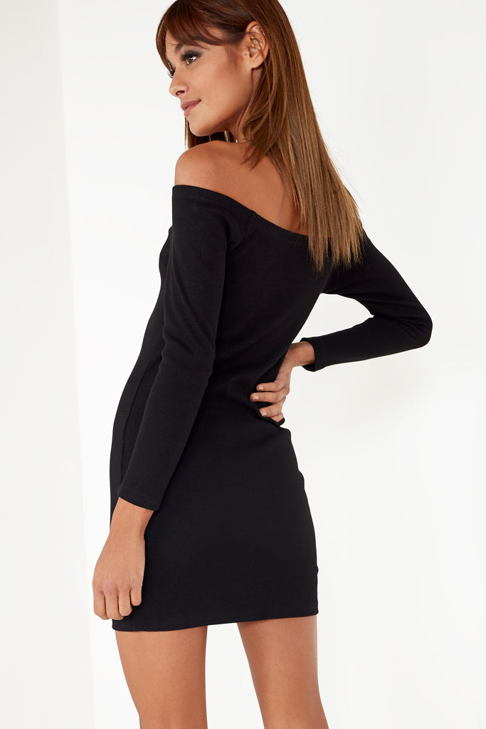 Sussy Black Button Front Bardot Dress