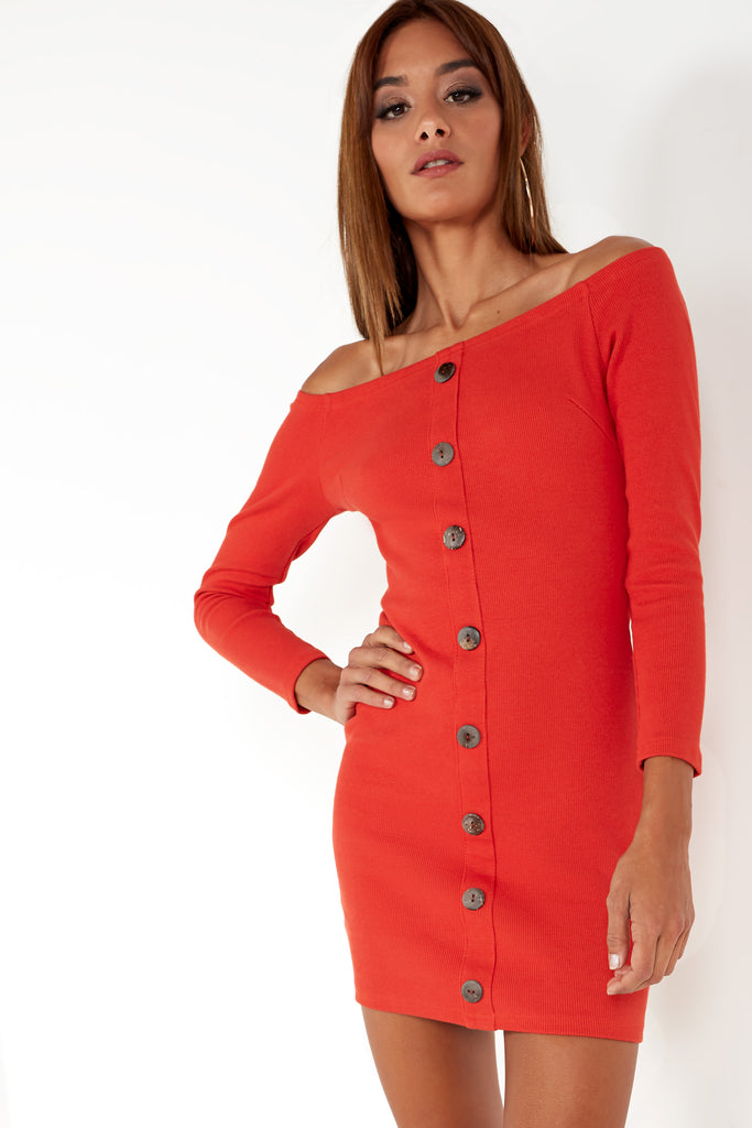 Sussy Rust Button Front Bardot Dress